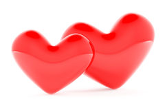 Two hearts leaning against each other Royalty Free Stock Images