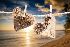 Two hearts on a line Royalty Free Stock Image