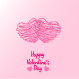 Two hearts of the lines together on Valentine's Day. Vector illustration Stock Photos
