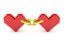 Two hearts linked by golden chain. Royalty Free Stock Photo
