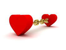 Two hearts linked by golden chain. Concept 3D illustration Stock Images