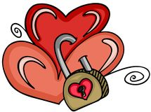 Two hearts locked with padlock Стоковые Фотографии RF