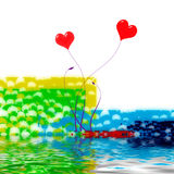 Two hearts in love. Red hearts illustration with ripples and colorful background Stock Images