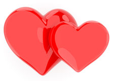Two hearts. Love. 3D illustration isolated Royalty Free Stock Image