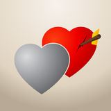 Two hearts almost in love -  illustration. Two heart that represent just one person in love Stock Photo