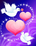 Two hearts and the in love pigeons (vector) Royalty Free Stock Photography