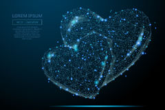 Two hearts low poly blue royalty free stock images
