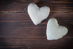 Two hearts made of cloth Royalty Free Stock Photos