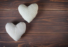 Two hearts made of cloth Royalty Free Stock Photo