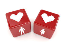 Two hearts, male and female figures on dices. Concept 3D illustration Royalty Free Stock Photos