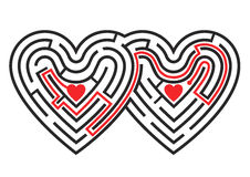 Two hearts maze. The labyrinth in the shape of two linked hearts. Vector available Stock Photos