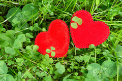 Two hearts in a meadow Royalty Free Stock Image