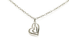 Two hearts necklace Stock Photo