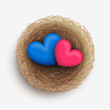 Two hearts in nest Stock Images