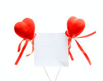Two Hearts and note Stock Photos
