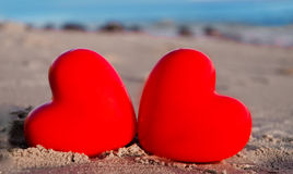 Two hearts by the ocean Royalty Free Stock Photo
