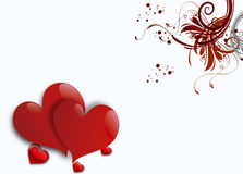Two Hearts On White Background Stock Photo
