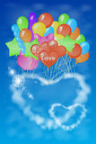 Two hearts out of the clouds on a lot of balloons. Royalty Free Stock Photography