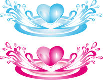 Two hearts out of the water Royalty Free Stock Image
