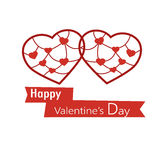 Two hearts in paper cutting style for Valentine's day Royalty Free Stock Photo