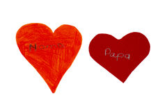 Two hearts of paper stock image