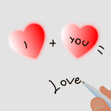 Two hearts and a pen write you plus me equals love Royalty Free Stock Photo