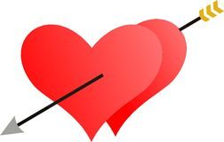 Two hearts penetrated by an arrow Royalty Free Stock Photography