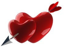 Two hearts pierced by an arrow. Royalty Free Stock Photo