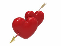 Two hearts pierced by an arrow, 3D render Royalty Free Stock Images