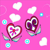 Two hearts on a pink background Royalty Free Stock Images