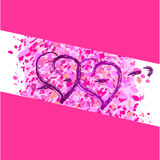 Two hearts on a pink background. Romance two hearts on a pink background Stock Photo