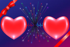 Two hearts. Preview cardiac rhythm of two hearts with ribbons and fireworks Stock Images