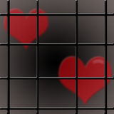 Two hearts and a prison bar. Two hearts in a prison of relations Royalty Free Stock Photos