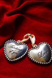 Two hearts red  background Stock Images