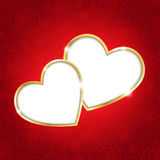 Two hearts on a red background Stock Image
