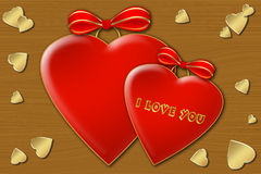 Two hearts. Two red hearts with bows on the wooden texture stock illustration