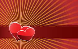 Two hearts on a red ribbon Stock Images
