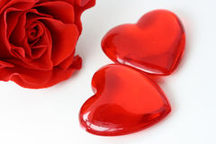 Two hearts and red rose Royalty Free Stock Photo