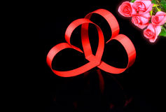 Two hearts, red roses. Royalty Free Stock Photos