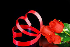 Two hearts, red roses. Stock Photography