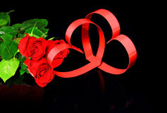 Two hearts, red roses. Stock Photo