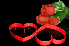 Two hearts, red roses. Royalty Free Stock Photo