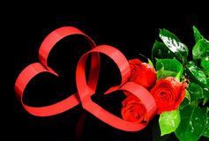 Two hearts, red roses. Royalty Free Stock Images