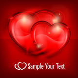 Two Hearts on red & text Royalty Free Stock Image