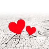 Two hearts. Two red hearts and Valentines day royalty free stock photography