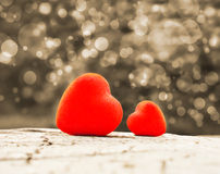 Two hearts. Two red hearts and Valentines day royalty free stock photos