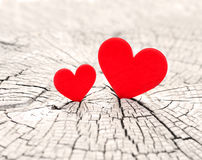 Two hearts. Two red hearts and Valentines day royalty free stock image