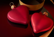 Two hearts with ribbon Royalty Free Stock Photo