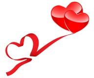 Two hearts and ribbon Stock Photos