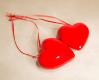 Two hearts and ribbons. Valentines Day background with hearts Stock Photos